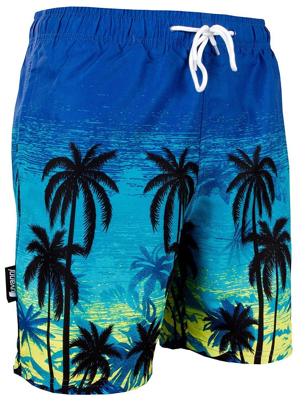 LUVANNI Herren Badehose mit Muster Blautöne Palmen Beach YSB439