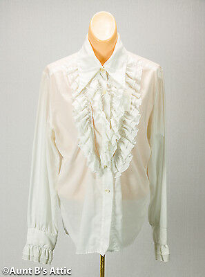 Pirate Blouse White Vintage 70's Ladies Ruffled Front Blouse Size Medium](Ladies Pirate Blouse)