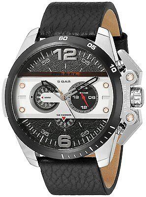 Diesel Ironside Mens Chronograph Watch Black Dial Black Leather DZ4361