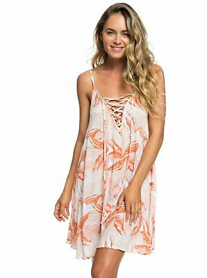 Roxy Softly Love Strappy Beach Dress - Women's - Large, White Jungle Boogie