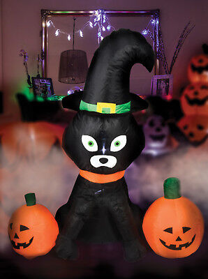 Giant Inflatable 4ft Cat & Pumpkins Halloween Party Indoor Outdoor With LED+Fan
