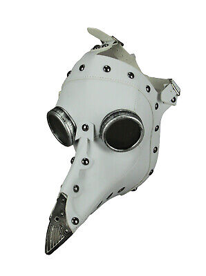 White Leather Studded Steampunk Plague Doctor Adult Halloween Mask