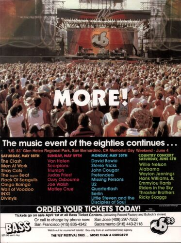 VAN HALEN / DAVID BOWIE US FESTIVAL 1983 ORIGINAL 1st PRINTING CONCERT POSTER