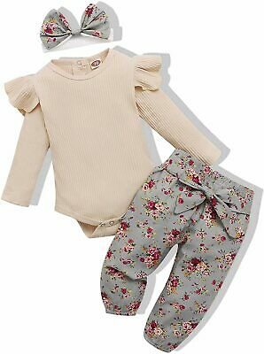 Newborn Baby Girl Clothes Outfits, Beige Ribbed-floral, Size 0-3 Months QlxX - $13.99