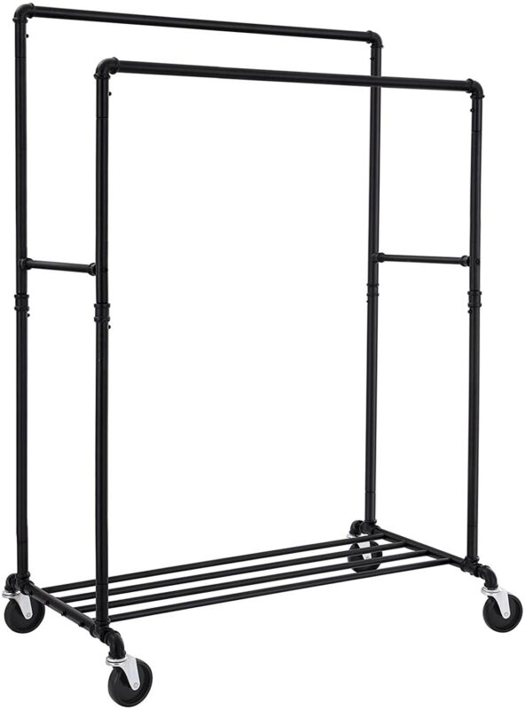 """64"""" Industrial Pipe Clothes Rack Double Rail on Wheels with Commercial Grade Clo"""