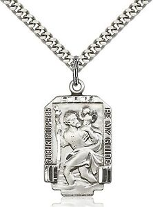 34fb6583eb9 Mens Saint St Christopher Medal 925 Sterling Silver Pendant Chain Medal  Necklace