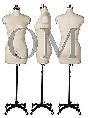 Pinnable Female Mannequin Dress Form W Heavy Duty Rolling Base Size 10 Mt 10