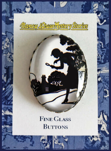 NANCY DREW SILHOUETTE Glass Dome OVAL BUTTON Vintage Book Reading Mystery