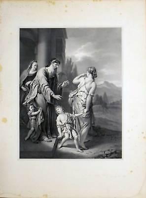 Die Verstossung der Hagar-A van der Werff-Große Lithographie-Hanfstaengl 1835-52