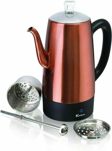 8 Cup Coffee Percolator Coffee Maker Pot Stainless Steel Electric Portable New
