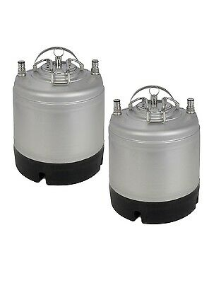 New Kegco 1.75 Gallon Home Brew Ball Lock Keg With Strap Handle - Set Of 2