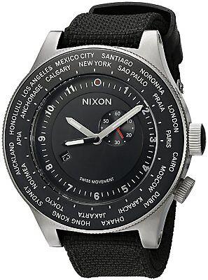 Nixon Men's A321-000-00 Passport 49mm Black Dial Watch A321000