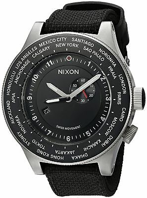 Authentic Nixon Passport Swiss GMT World-Time 49-MM Black Strap Watch - Nylon Strap Clip Watch