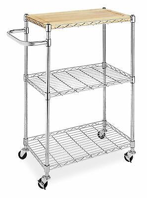 Kitchen Microwave Cart Wooden Table Shelf Carrier Pantry Organizer Chrome NEW