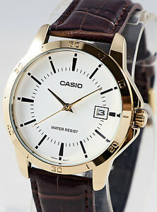 Casio Mens MTP-V004GL-7A Gold Analog Brown Leather Band Day Date Watch New 2015