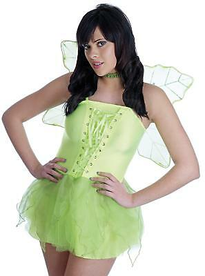 WOMENS WOODLAND PIXIE COSTUME SEXY GREEN FAIRY TINKERBELL STYLE OUTFIT LADIES - Sexy Pixie Kostüm