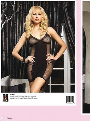 Cute Black Fishnet Halter Dress Opaque Panel Leg Avenue Pin Up 86095