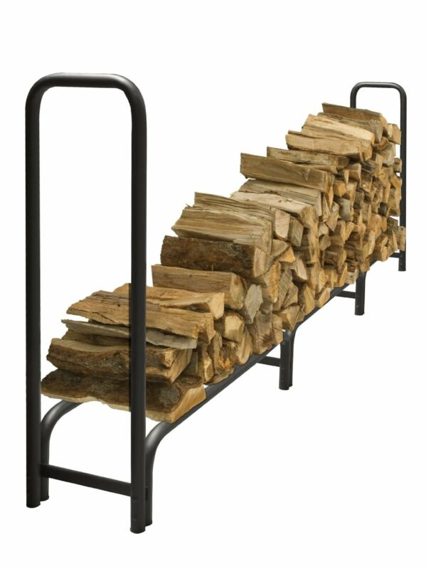 Pleasant Hearth 12 Ft Black Heavy Duty Wood Log Rack LS938-144 New