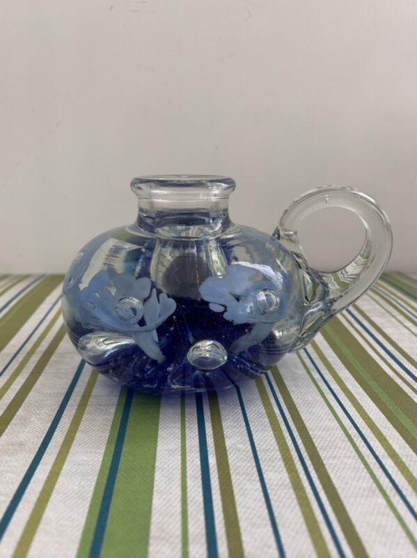 Vintage Retired Joe St Clair Glass Blue Cobalt Floral Candle Holder/ Paperweight