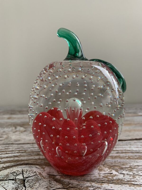 Vintage Joe St.Clair Art Glass Apple Paperweight Controlled Bubble
