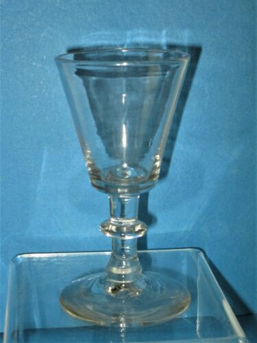 EARLY BLOWN WINE GLASS, TRUNCATED CONE BOWL, O.P., 19TH CENTURY
