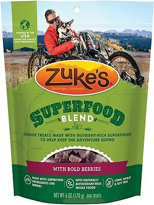 Zuke's Superfood Blend Natural Dog Treats Crafted in The USA, 6 oz. Pouch