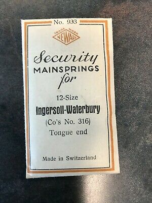 Newall Mainspring for 12s Ingersoll Waterbury Pocket Watch No. 316 - Steel
