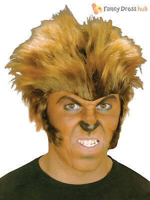 Mens Wolf Man Wig Adults Halloween Werewolf Wolverine Fancy Dress - Wolverine Fancy Dress Kostüm