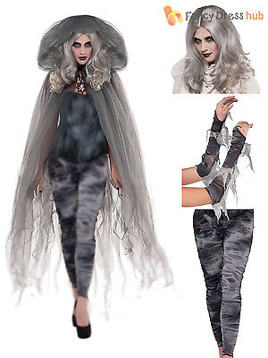 Ladies Gothic Zombie Ghost Halloween Fancy Dress Costume Womens Grey Accessory