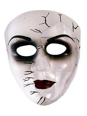 Broken Doll Face Plastic Mask Fancy Dress Up Halloween Adult Costume - Broken Doll Mask