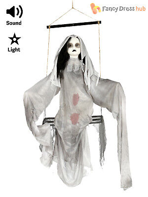 90cm Zombie Girl On Swing Halloween Party Decoration Light Up + Sound Doll Prop](Girl On Swing Halloween Decoration)