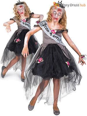Prom Queen Halloween Outfit (Girls Zombie Prom Queen Costume Childs Halloween Fancy Dress Kids Horror)
