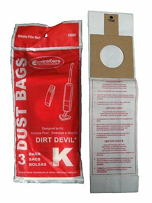 Dirt Devil Type K 120SW, 3320235001 Royal Stick Vac Broom Vacuum Bags