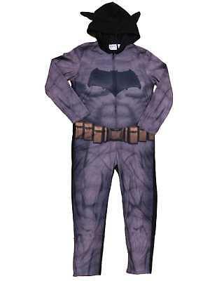 DC Comics Batman V Superman Mens Fleece Hooded Costume Union Suit Pajamas - Batman V Superman Suit