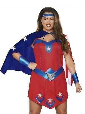 Womens American Superhero Halloween Costume Patriotic Dress Cape Headband](Womens Patriotic Costumes)