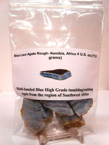 Rock Tumbler Gem Refill - Namibia, Africa Blue Lace Agate Rough Bold Banding 4oz