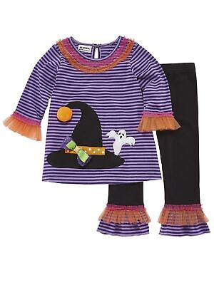 Light Up Outfits (Toddler Girls Light Up Ghost & Witch Halloween Outfit Shirt & Leggings)