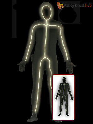 Light Up Body Suit (Adults Light Up Skin Suit Bodysuit Costume Mens Halloween Neon Fancy Dress)