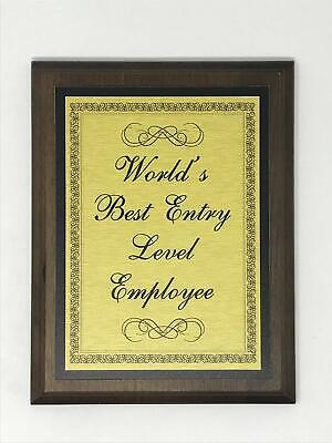 Aahs Engraving Worlds Greatest Plaques (World's Best Entry Level Employee, (Best Entry Level Employees)
