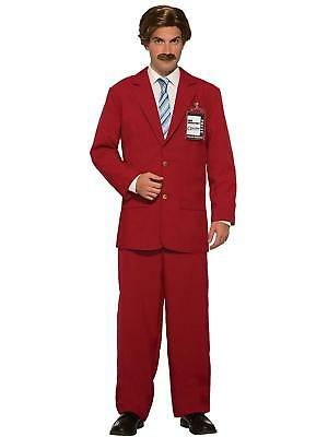 Ron Burgundy Suit Anchorman Movie Fancy Dress Up Halloween Adult Costume