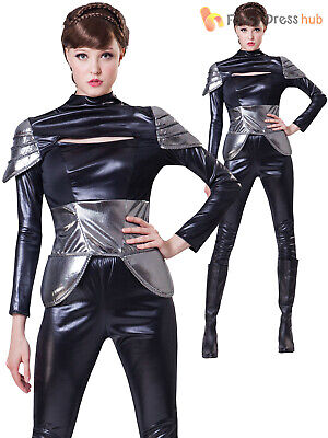 Ladies Futuristic Spy Costume Bond Girl Sexy Agent Film Fancy Dress Womens