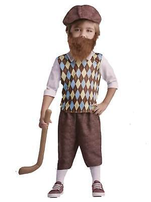 Toddler Lil Bearded Boys Golfer Costume Baby Golf Pro (Baby Golf Costume)
