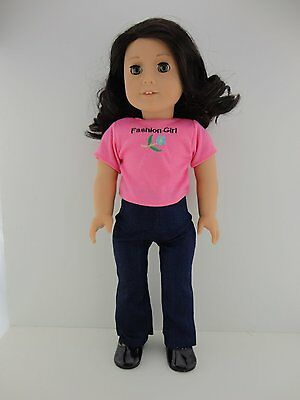 2 piece Outfit Denim Jeans & a Pink T Shirt for 18 Inch Dolls 2 Piece Denim Jeans