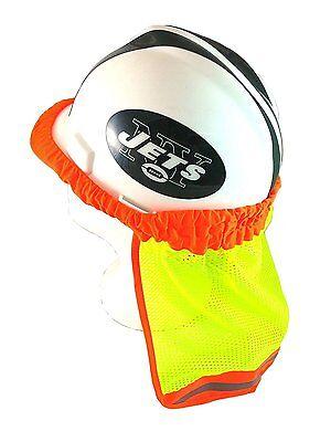Safety Hard Hat Neck Shield Helmet Sun Shade Hi Vis Reflective Stripe - Lime