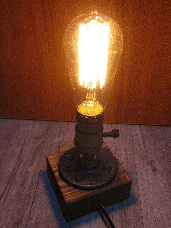 Vintage industrial retro style single socket desk wooden for Vintage wooden table lamps