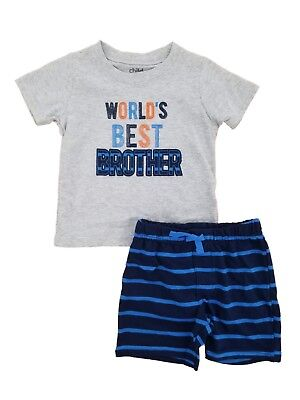 Carters Infant Boys 2-Piece World's Best Brother T-Shirt & Shorts (Best Baby Brothers)