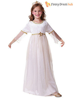Girls Christmas Angel Costume Nativity Fancy Dress Outfit Childrens Kids White