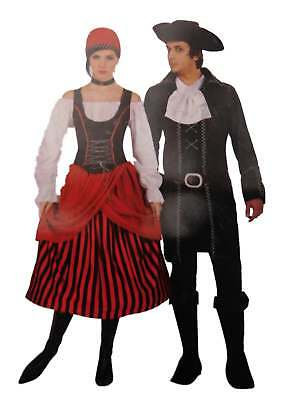Womens Pirate Vest (Womens Pirates Beauty Halloween Costume Dress with Vest Choker & Headpiece)