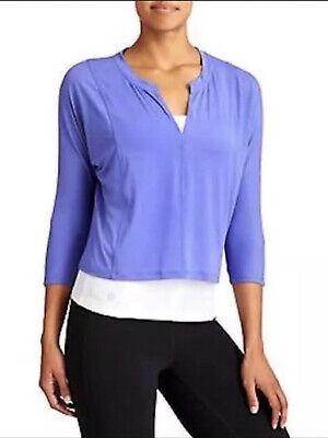 NEW Athleta Essence Lightweight Crop Top 3/4 Sleeves Sz S Purple Yoga NWOT