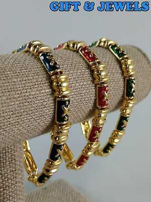 JOAN RIVERS SIGNED GOLD-TONE COSTUME BRACELETS 7.25 MULTI COLORED ENAMELS #bh952 Gold Tone Costume